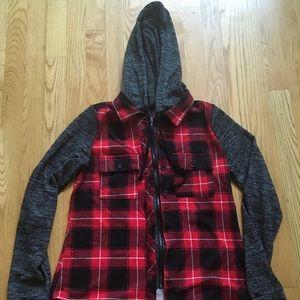 Half flannel half jacket coat